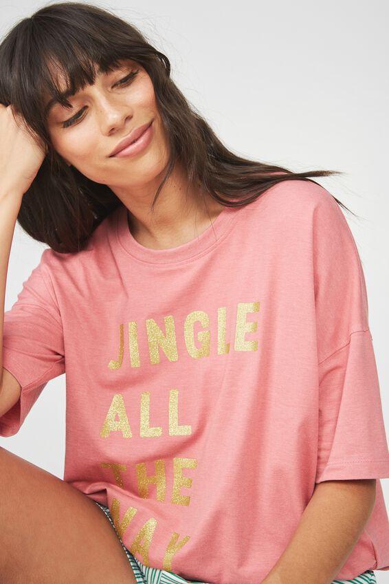Christmas Pajama Top, ROSEY PINK/JINGLE ALL THE WAY