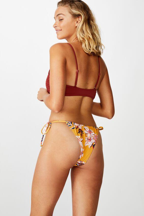 Gathered Tie Brazilian Bikini Bottom, SPICY MUSTARD FLORAL