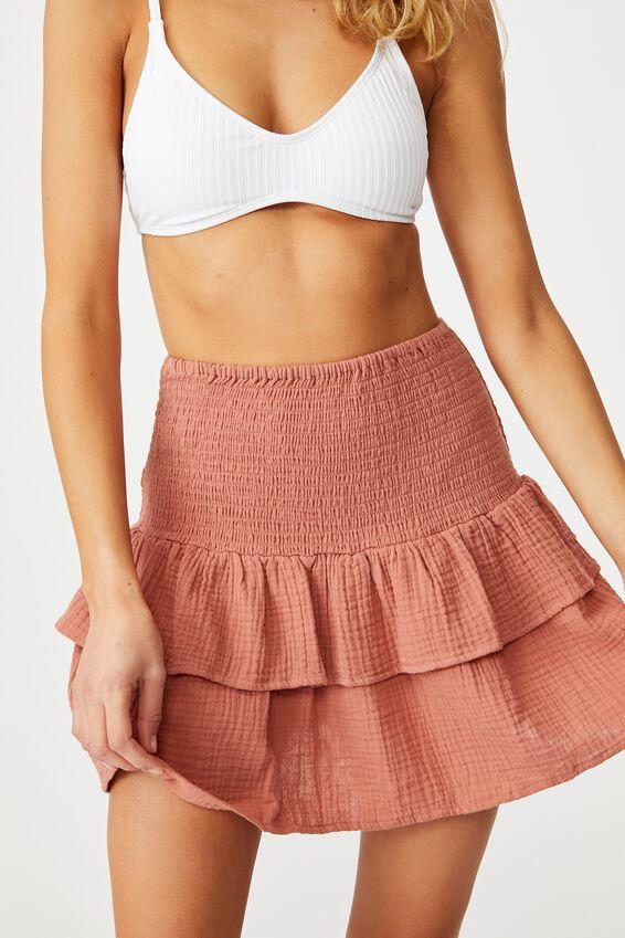 Shirred Beach Skirt, TERRACOTTA