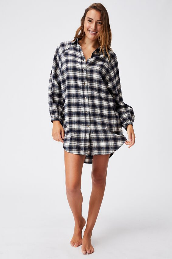 Warm Flannel Sleep Shirt Nightie, MINI CHECK NAVY
