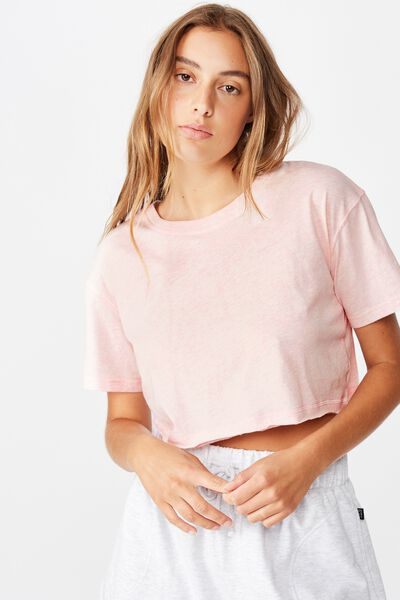 Active Cropped Tshirt, PINK SHERBET MARLE