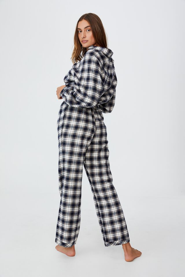 Warm Flannel Sleep Pant, MINI CHECK NAVY