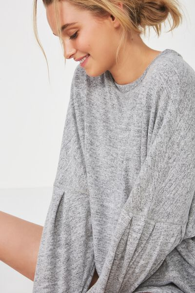 Super Soft Bubble Sleeve Top, GREY MARLE