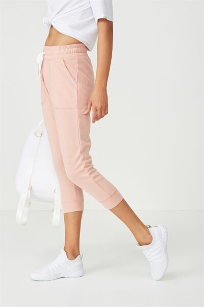 Cropped Gym Track Pants, PETAL PINK