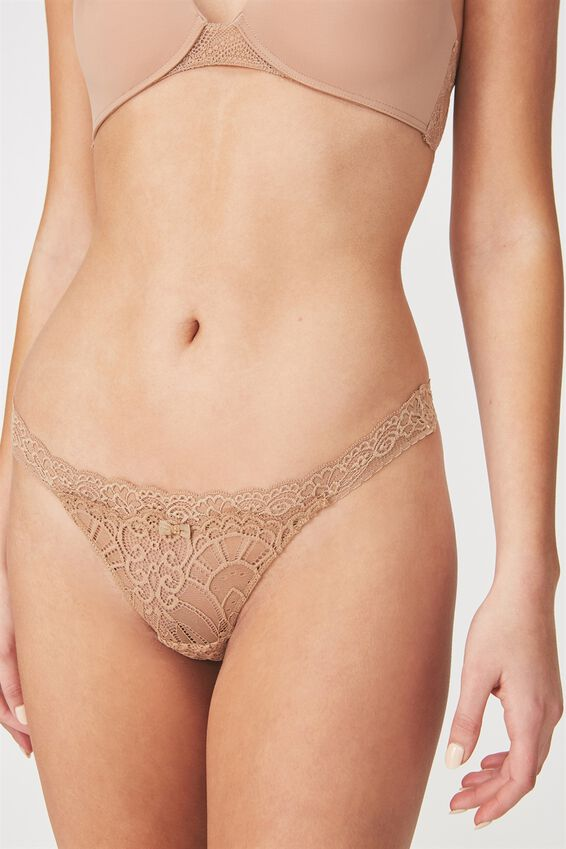 Candice Lace G-String Brief, CINNAMON