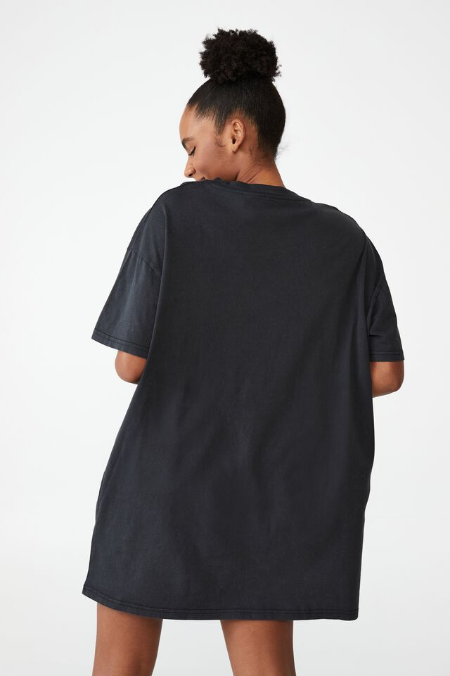Organic Cotton 90S T-Shirt Nightie, LCN KAKAO RYAN APEACH WASHED BLACK