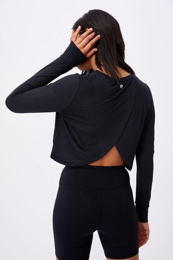 Layered Cross Back Long Sleeve Top, BLACK