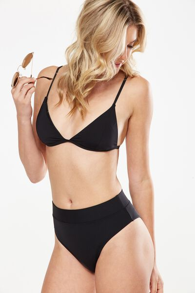 Thin Strap Fixed Triangle Bikini Top, BLACK