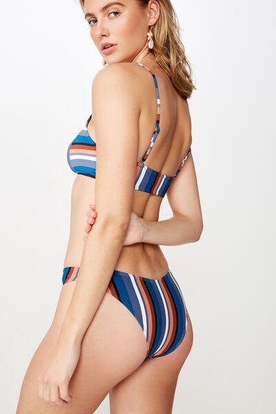 High Side Brazilian Bikini Bottom, BLUES MULTI STRIPE