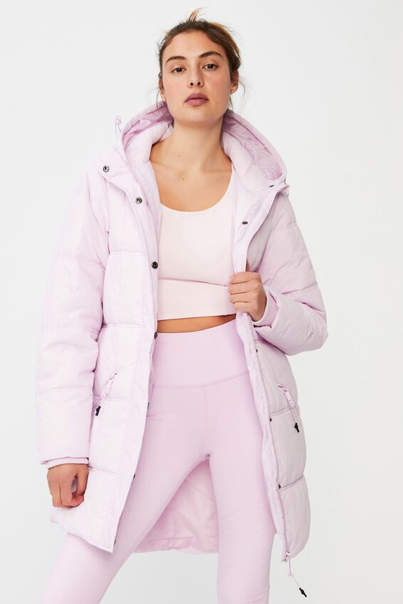 The Mother Mid Length Puffer Jacket, BLOSSOM