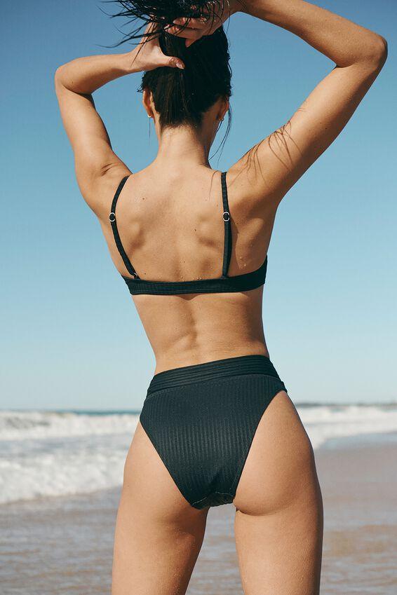 Highwaisted Cheeky Bikini Bottom, BLACK RIB 21