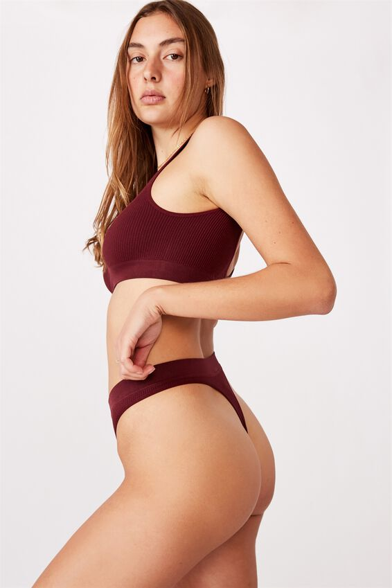 Seamless Hi Cut Thong, MULBERRY