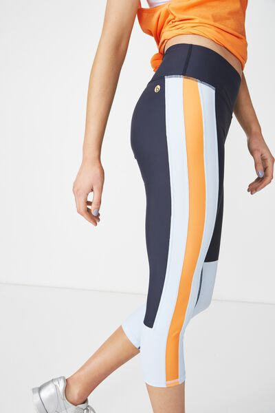 Colour Blocked Crop Tight, NAVY/TOPAZ BLUE