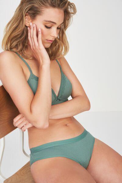 Cotton Rib Cheeky Bikini Brief, FERN GREEN