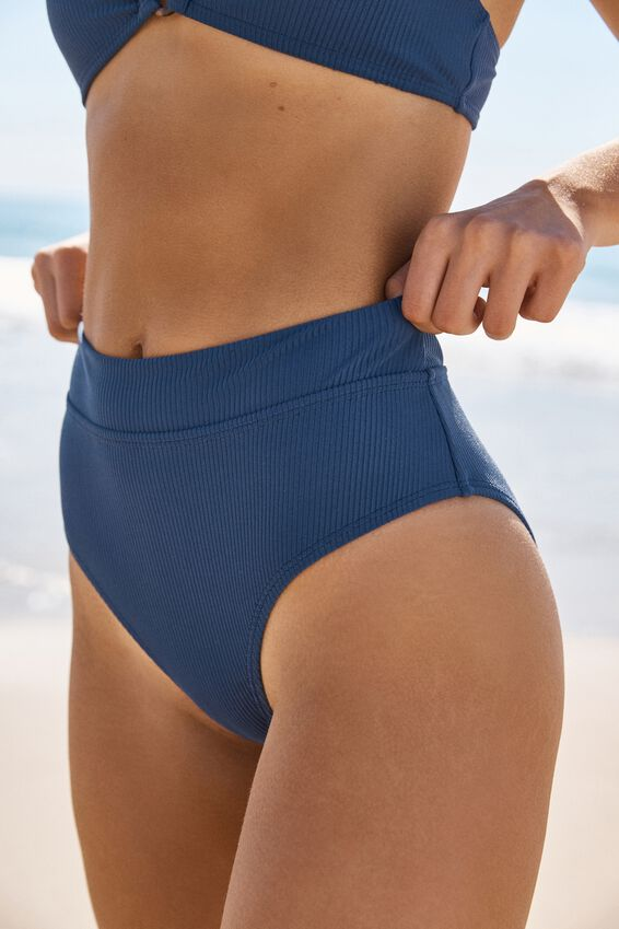 Highwaisted Banded Cheeky Bikini Bottom, MARINA BLUE RIB