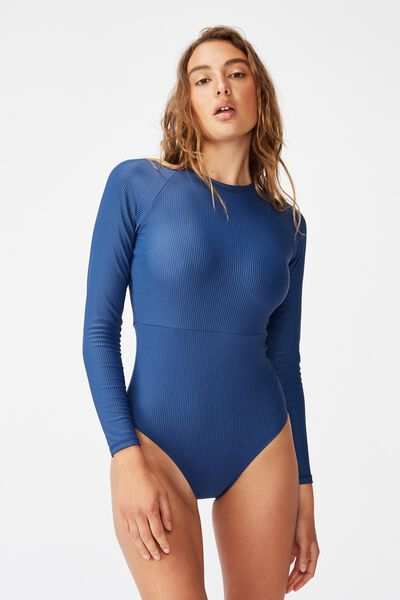 Long Sleeve One Piece Cheeky, MARINA BLUE RIB