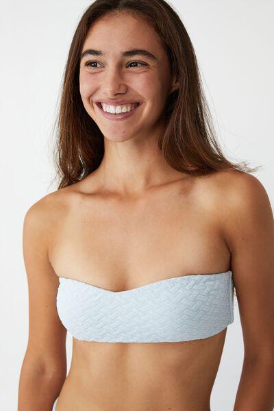 Sweetheart Crop Bikini Top, SEA SALT BLUE WEAVE JACQUARD