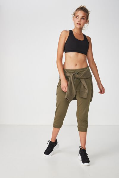Cropped Gym Track Pants, OLIVE BRANCH/LIMELIGHT