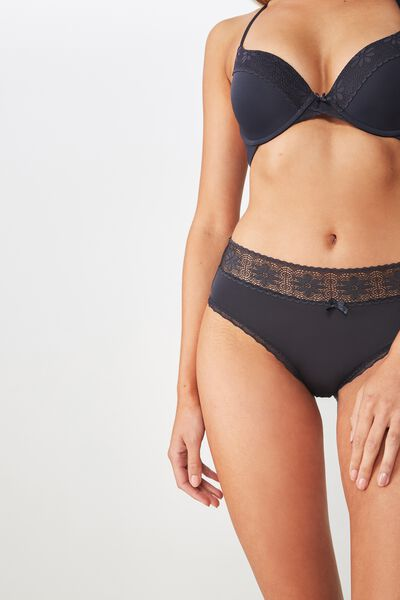 High Waist Lace Trim Cheeky Brief, CHARCOAL