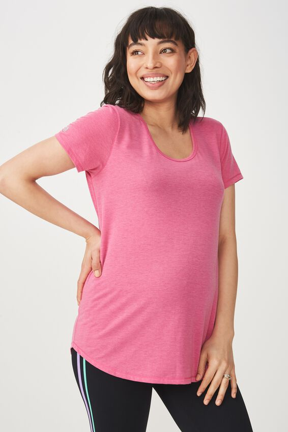 Maternity Gym T Shirt, CONFETTI PINK MARLE