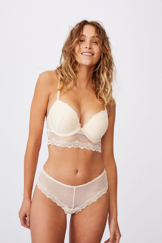 Stevie Lace Longline Push Up2 Bra, BUTTERMILK
