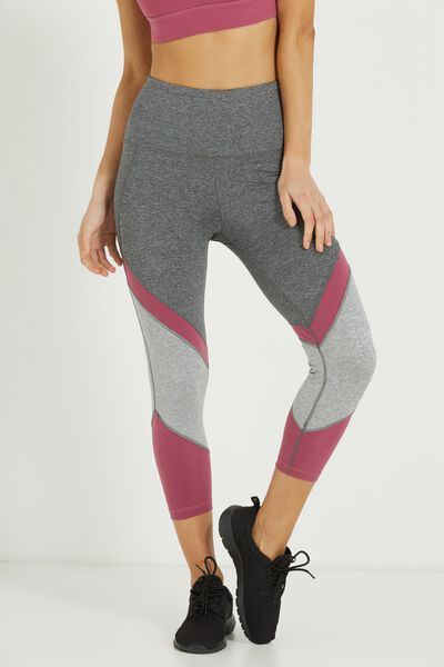 Tri Panel Crop Tight, CONCRETE MARLE/WILD ROSE