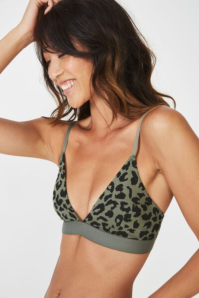 Cotton Bralette, TWO TONED LEOPARD