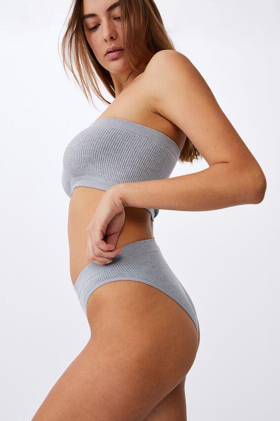Seamless High Cut Cheeky Bikini Brief, LT GREY MARLE