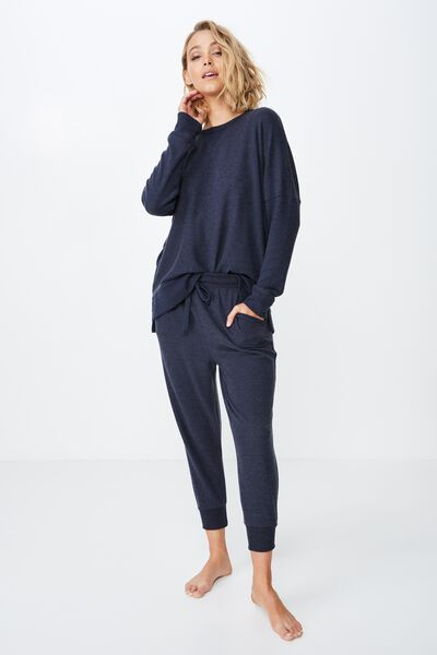 Supersoft Cropped Slim Fit Pant, NAVY BABY MARLE