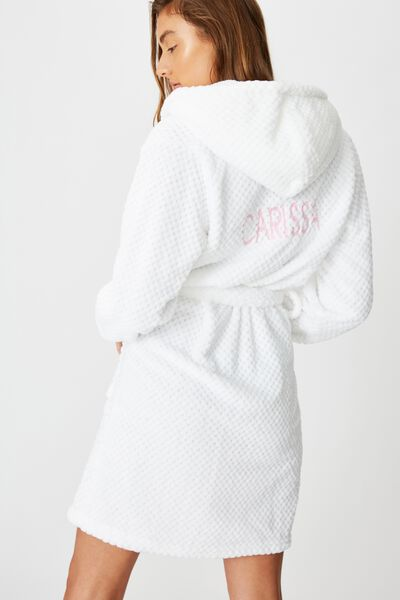 Personalised Hooded Luxe Plush Gown, WHITE TEXTURED