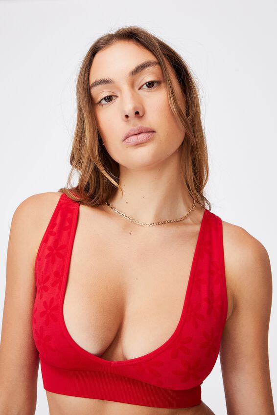 Seamfree Reversible Crop With Cups, TRUE RED DAISY JACQUARD