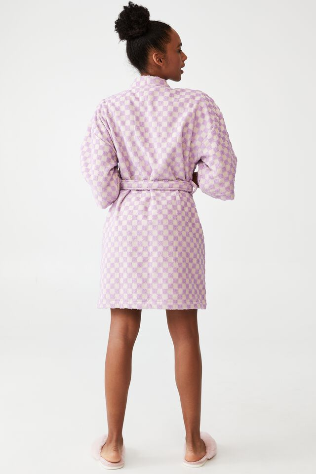 Towelling Robe, CHEEKY CHECKERBOARD/LAVENDER SORBET