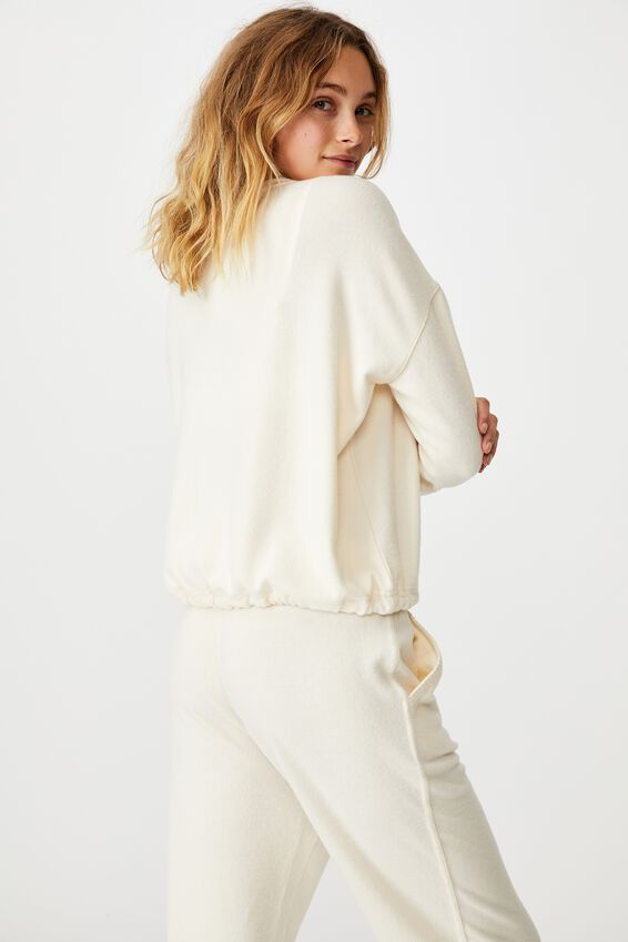 Super Soft Draw Cord Crew, ALMOND BUTTER MARLE
