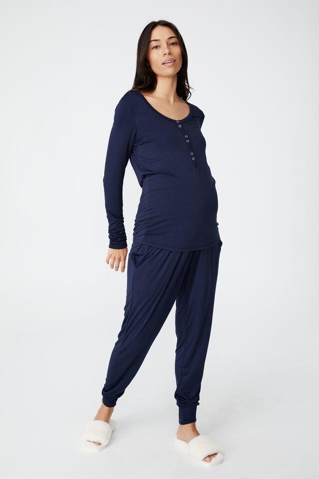 Sleep Recovery Maternity Henley Top, MIDNIGHT SKY