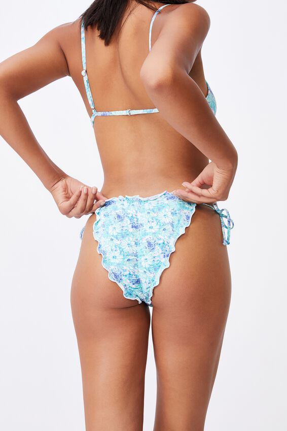 Lettuce Edge Brazilian Bikini Bottom, SUMMER BLOOMS BLUES