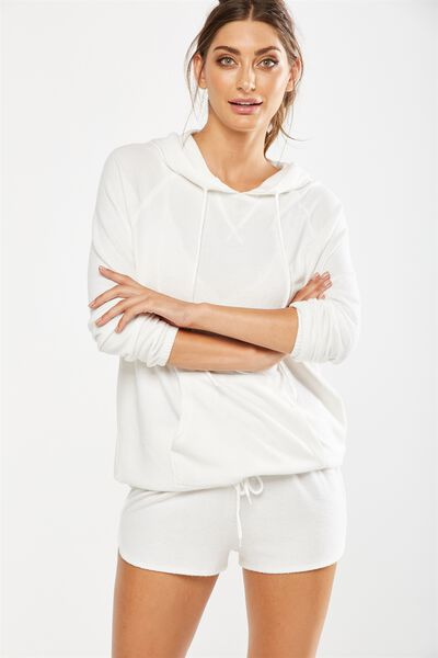 Super Soft  Tie Hoodie, WINTER WHITE MARLE