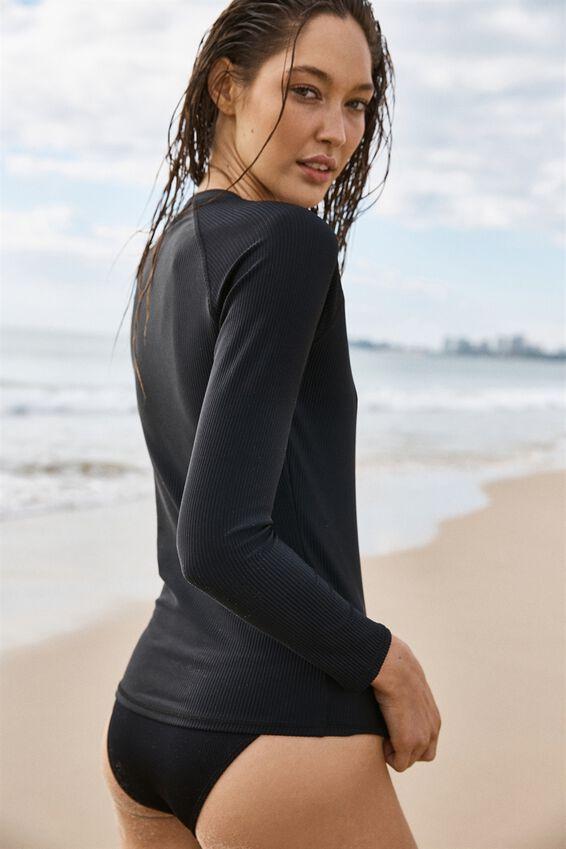 Callie Long Sleeve Swim Top, BLACK RIB