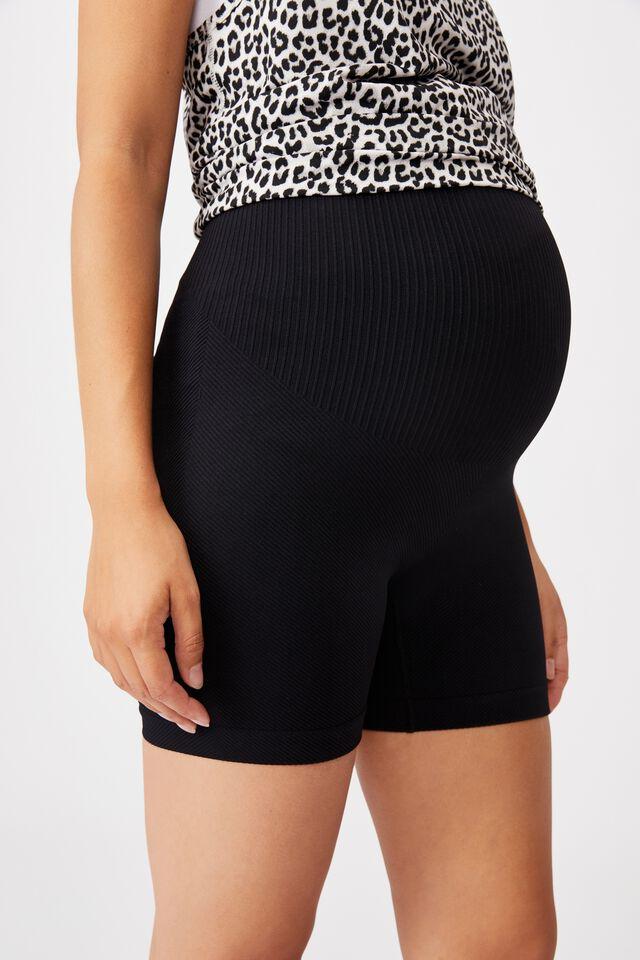 Maternity Lifestyle Seamless Rib Short, BLACK