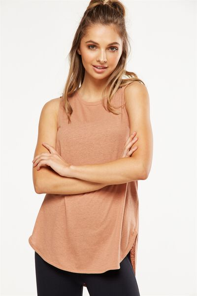 Scooped Flow Tank Top, MAPLE