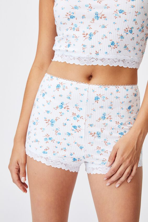 Rib Lace Sleep Short, ROSE FLORAL WHITE