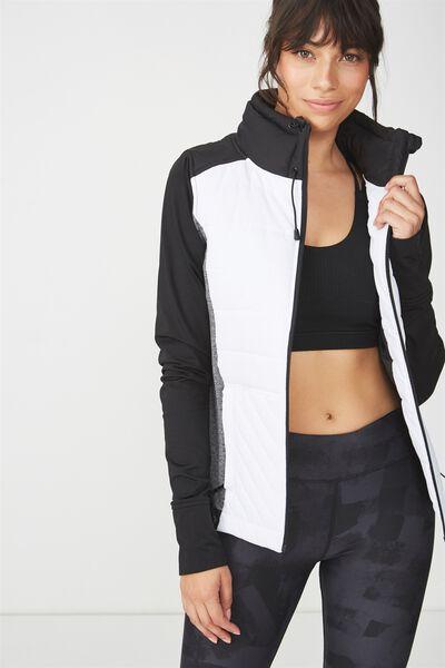 Active Slimline Puffer Jacket, BLACK/WHITE COMBO