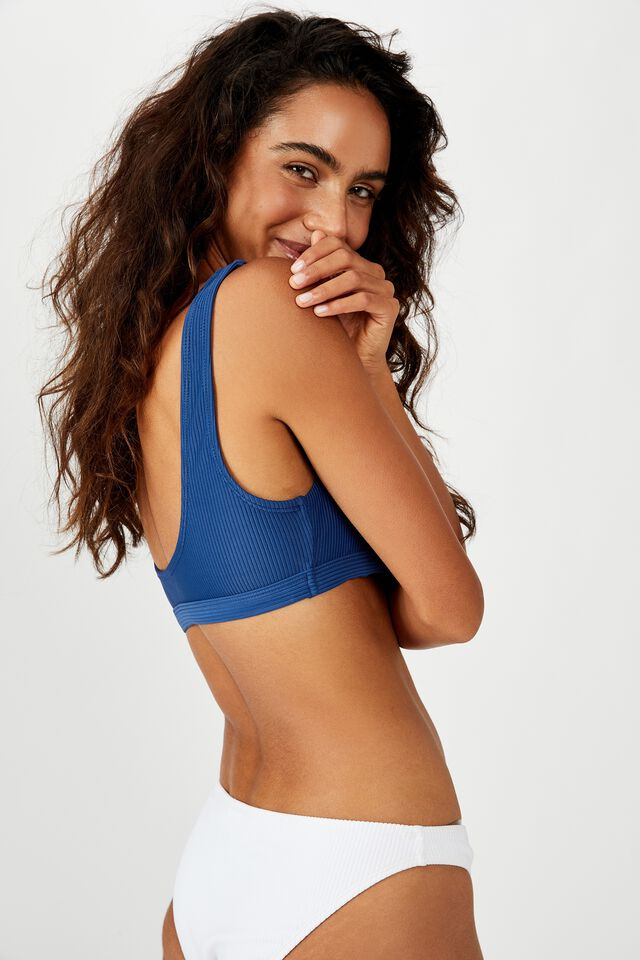 Cut Out Crop Bikini Top, MARINA BLUE RIB