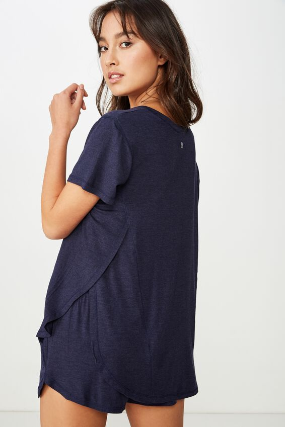 Sleep Recovery Curved T Shirt, MIDNIGHT MARLE