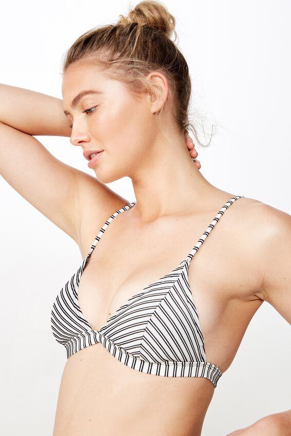 Fixed Triangle Bikini Top, BLACK AND WHITE RIB