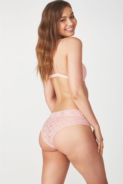 Jojo Allover Lace High Waist Brasiliano Brief, LILY PINK