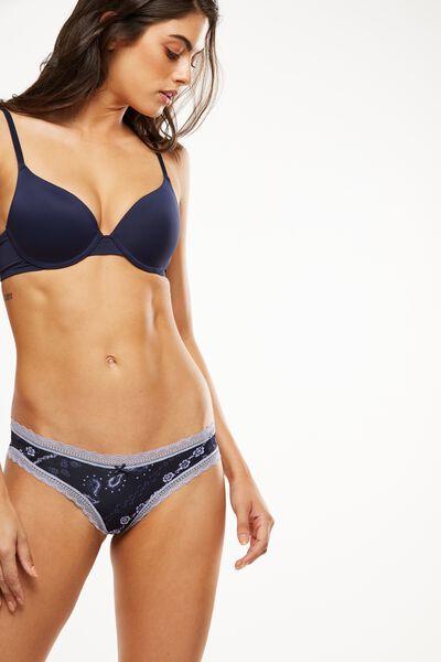 Smooth Lace Trim Bikini Brief, MIDNIGHT LINEAR FLORAL