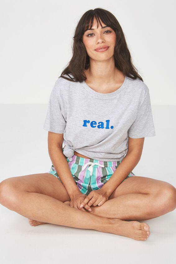 Boyfriend Tshirt, GREY MARLE/REAL
