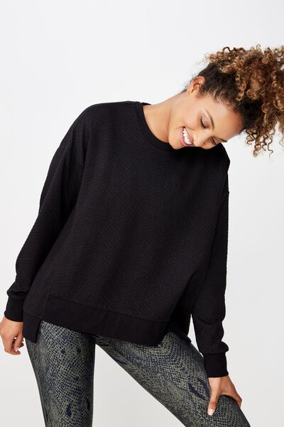 Step Up Hem Textured Longsleeve, BLACK