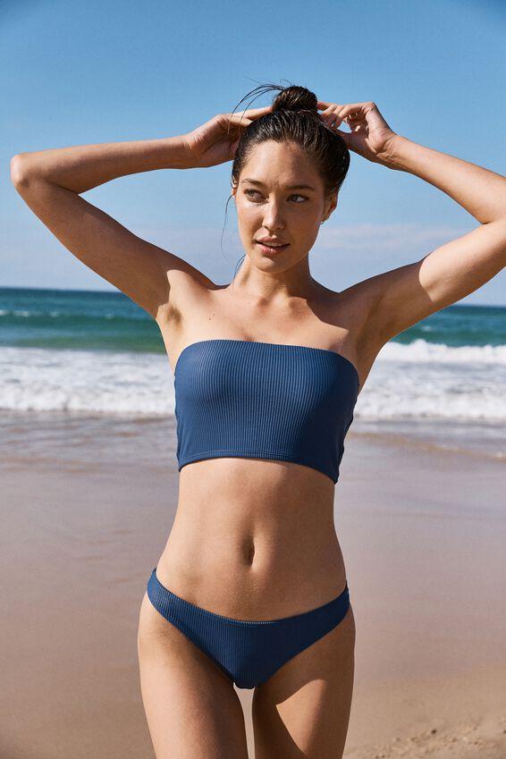 Longline Bandeau Bikini Top, MARINA BLUE RIB