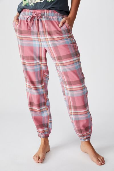 Flannel Sleep Pant, WASHED ROSE CHECK